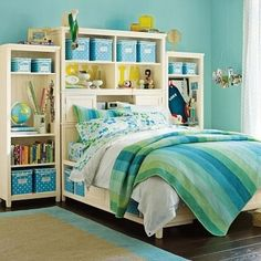 Potter Barn Teen  Could create with bookcases & DIY platform bed