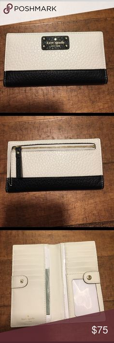 Kate Spade wallet. Pretty leather wallet style:Bay Street Stacy. Color cement/black. Smaller size with lots of storage. About the size of a checkbook cover. kate spade Bags Wallets