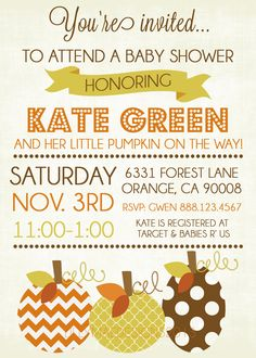 Fall Baby Shower Invitations  3 Little Pumpkins by LillyMaeDesigns, $13.00