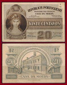 Notas de Portugal e Estrangeiro World Paper Money and Banknotes: Portugal 20 Centavos 1922 - Pick 102