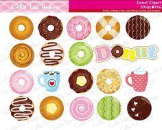 Donuts Clip Art Doughnut Coffee Cute Clip Art / by CeliaLauDesigns