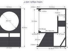 Skema box Speaker Bass Reflex Horn 18 J-bin Subwoofer Box Design, Speaker Box Design, Audio System, How To Plan, Diy, Subwoofer Box, Woodworking Projects, Boxing, Crates