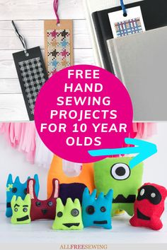 15 Hand Sewing Projects for 10 Year Olds - If you're looking for sewing projects for younger children or even hand sewing projects for middle school students, many of these will work, too. Diy Projects For Kids, Sewing Projects For Beginners, 10 Year Old, 10 Years, Robotics Projects, Felt Monster, Sewing Cards, Cross Stitch Bookmarks, Pouch Pattern