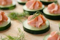 Smoked Salmon Mousse on Cucumber Slices - Quick and Easy Hors d'oeuvre