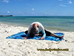 Half Dragonfly Pose being done on a beach in Playa del Carmen Mexico. This is the modified version of the full Dragonfly Pose, in Yin Yoga. Use this modification if you have tight groin muscles. Learn how to do the pose, by clicking on the photo. Dragonfly Pose, Yin Yoga Poses, Asana, Beach Mat, Meditation, Outdoor Blanket, Learning, Chakras, Restore