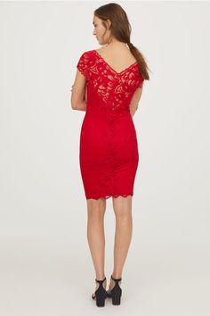 Kanten jurk met V-hals - Rood - DAMES | H&M NL 3 Cold Shoulder Dress, Bodycon Dress, Dresses, Fashion, Gowns, Vestidos, Moda, Body Con, Fashion Styles