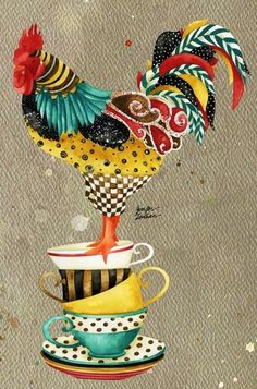 Rooster illustration art by Jennifer Lambein via www.Facebook.com/JenniferLambeinStudioPetite
