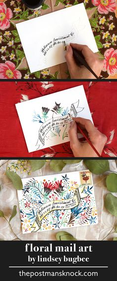 "Envelope Art Mini-Tutorials ""Botanical Explosion"" floral envelope art - colorful mail art made with watercolors""Botanical Explosion"" floral envelope art - colorful mail art made with watercolors Envelope Lettering, Calligraphy Envelope, Envelope Art, Envelope Design, Hand Lettering, Mail Art Envelopes, Addressing Envelopes, Snail Mail Gifts, Pen Pal Letters"