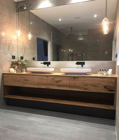Complete and utter bathroom envy. Love, love, LOVE what Bianca has done with her bathroom! 😍😍 #bathroomevny #inspired #timbervanity…