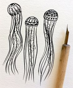 Flower Drawing Inktober Drawing - Jellyfish - Daily ink drawings from Inktober Jellyfish Drawing, Jellyfish Art, Watercolor Jellyfish, Jellyfish Tattoo, Tattoo Watercolor, Colorful Jellyfish, Jellyfish Light, Jellyfish Decorations, Jellyfish Aquarium