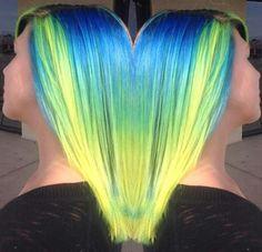 blue green neon hair