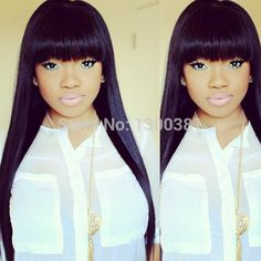 Find More Wigs Information about Bleach Knots Glueless Peruvian Human Hair Silky Straight 4''*4'' Silk Top Full Lace Wigs With Bangs All Length For Black Women,High Quality Wigs from Gorgeous Summer Hair Store on Aliexpress.com