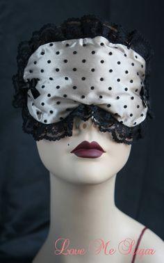 f305e2dabd139 Boudoir Sleep mask Eyemask Sleeping Eye mask Retro Inspired Cream Satin  black Spots - Bailie - Love Me Sugar