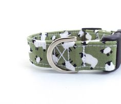 ***UK based shop - FREE UK DELIVERY*** ***LISTING IS FOR SAGE GREEN - other colours available on other listings**** A snazzy dog collar for the dog wanting to make a statement! Your best friend will be the talk of the town. The collar is made from: ~ 100% cotton fabric ~ extra strong thread ~ metal, rust-resist D ring ~ high quality curved buckle ~ polypropylene webbing (not XS/puppy size - this is fabric ONLY - webbing makes it too stiff) PLEASE NOTE: The pattern may vary slightly d...