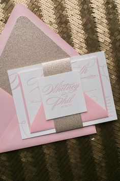 Fabulous Pink and Gold Modern Calligraphy Letterpress Wedding Invitations. LAUREN Glitter Collection by Just Invite Me