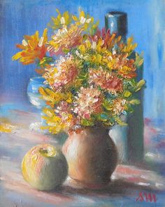 Autumn flowers - original oil painting by severminea on Etsy Autumn Flowers, Oil, The Originals, Unique Jewelry, Handmade Gifts, Painting, Etsy, Vintage, Fall Flowers