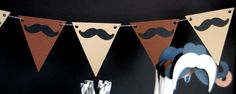 Mustache Party Banner..easy to make. Then add pics of Myles throughout his first year with a little mustache on the pic :-)