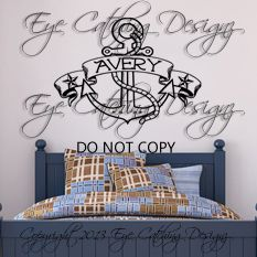 Anchor Nautical Theme Sail Boat Tattoo Personalized Wall Decal Vinyl Decor Room | eBay