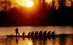 Hanover, Germany — Dragon boat athletes practice on the Maschsee in Hanover, Germany.  PHOTOGRAPH BY: JULIAN STRATENSCHULTE / AFP/Getty Images