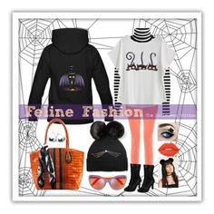"""Feline Fashion: The Halloween Edition"" by ms-ironickel ❤ liked on Polyvore featuring Kate Spade, J Brand, Steffen Schraut, Demonia, Markus Lupfer and Lime Crime"
