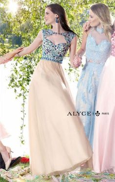 Alyce 6341 Nude Jade Long Beaded Prom Dresses of 2015
