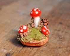 Tiny Mushroom Garden, Needle Felted