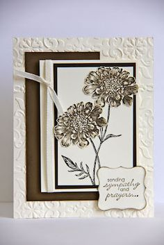 Field Flowers stamp set in Early Espresso and Crumb Cake ink on Very Vanilla, Soft Suede and Early Espresso cardstock - Jen Brum Cute Cards, Diy Cards, Sympathy Cards, Greeting Cards, Embossed Cards, Beautiful Handmade Cards, Get Well Cards, Flower Cards, Flower Stamp