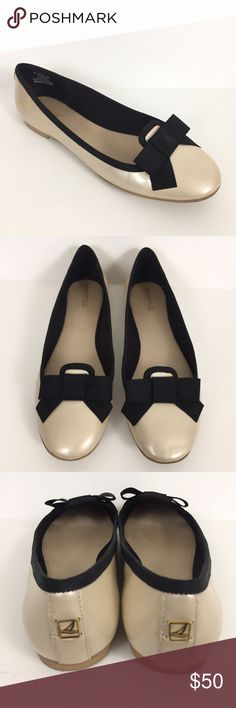 Sperry Sophie Cream Patent Black Bow Loafers Flats Sperry Top-Sider Sophie Flats - Sz 8M  Made of a nude patent leather upper with black grosgrain ribbon detail. Flat, loafer styling with bow.  Only sign of wear is some minimal wear on outsoles. See pictures for more details. Sperry Top-Sider Shoes Flats & Loafers