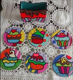 Coaster Art, Tea Coaster, Coaster Design, Pottery Painting, Painting On Wood, Drugs Art, Felt Coasters, Arte Country, Christmas Wood Crafts