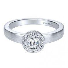 Brushed band halo engagement ring. Gabriel&Co. ER6072W44JJ