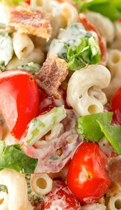 BLT Pasta Salad ~ The fabulous flavors of a BLT come together in this BLT Pasta Salad with spinach, crispy bacon, and grape tomatoes tossed in a simple dressing. It's the perfect summer pasta salad!