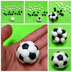 Soccer Cupcakes, Soccer Birthday Cakes, Soccer Ball Cake, Fondant Cake Tutorial, Fondant Toppers, Sports Themed Cakes, Sport Cakes, Fondant Decorations, Fondant Figures