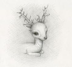 Deer Sketch by Lauren Saxton (Fair Rosamund Art).