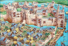 Stephen Biesty - Illustrator - Cutaway Panoramas - Caernarfon Castle