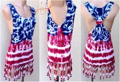 4th Of July Tank Top, Independence Day, Tie Dye Stars Stripes, American Flag, Red White Blue, Beach Bikini Cover, Sleeveless, Beaded, Fringe by Sunjunki on Etsy