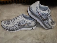 7f816ad57d96 Ready to ship 1 left Sale Womens Nike Free 5.0 V4 running shoes white  silver wolf grey Leopard cheetah design swarovski swoosh bling shoes