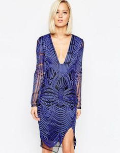 Order Lavish Alice Embroidered Wrap Midi Dress with Deep Plunge online today at ASOS for fast delivery, multiple payment options and hassle-free returns (Ts&Cs apply). Get the latest trends with ASOS. White Mesh Dress, White Embroidered Dress, Blue Midi Dress, White Embroidery, Embroidery Dress, Skater Dress, Bustiers, Lavish Alice, Blue Cocktail Dress