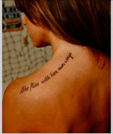 Tattoo for women:   She flies with her own wings