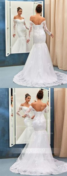 White Off Shoulder Sweetheart Long Sleeves Backless Wedding Dresses Mermaid Bride Gown - wedding Dresses 2020 Inexpensive Bridesmaid Dresses, Cheap Wedding Dresses Online, Affordable Wedding Dresses, Wedding Dress Styles, Bridal Dresses, Illusion Neckline Wedding Dress, Wedding Dress Sleeves, Lace Mermaid Wedding Dress, Mermaid Dresses
