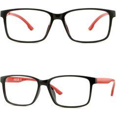 Thin Light Bendable Plastic Frame Square Men Women Prescription RX Glasses Black #Unbranded
