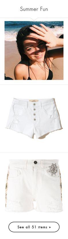 """Summer Fun"" by lindaweldon ❤ liked on Polyvore featuring swimwear, bikinis, tie back bikini, bikini two piece, bikini swim wear, bikini beachwear, padded swimwear, shorts, pants and ripped white"