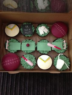 Cricket Cake - Contact Hyderabad Cupcakes to order! Cupcakes For Men, Themed Cupcakes, Yummy Cupcakes, Cupcake Toppers, Cupcake Cakes, Fun Cakes, Cupcake Ideas, Cricket Theme Cake, 70th Birthday Parties