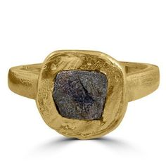 Womens ring features a 1.75carat genuine raw rough cube diamond. The diamond measures approx 6.5mm across. The diamond is hand set in solid 14k yellow gold handmade setting. Band width 3mm.