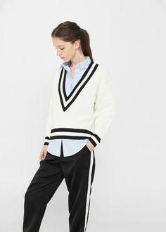 V-neckline sweater - Women | MANGO USA