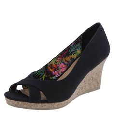 Like the peep toe and extra detailing at the front. Black works with almost anything. Look comfy and stylish.