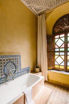 Riad Jardin Secret Marrakech Superior room with bathtub Morrocan Bathroom, Morrocan Interior, Moroccan Design, Moroccan Decor, Moroccan Style, Moroccan Bedroom, Moroccan Lanterns, Bathroom Styling, Bathroom Interior Design