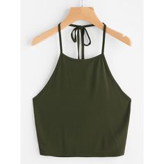 Self Tie Halter Top ($5.99) ❤ liked on Polyvore featuring tops, army green, summer tops, halter tops, olive green top, olive vest and olive green vests