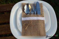 Hessian Cutlery Holders Burlap Silverware Rustic Wedding Lace Detail Party Decor