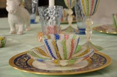 Multicolor Latticino Venetian glass service, is perfect for a cheerful Spring table! http://entertablement.com/?p=1930