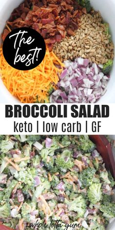 The BEST low carb keto broccoli salad recipe that& healthy, easy, and with a simple homemade dressing. The low carb broccoli salad with bacon makes a great healthy side dish for lunch, or as a holiday salad, plus it& gluten free too. salad with bacon Low Carb Broccoli Salad, Broccoli Salad With Bacon, Broccoli Cauliflower, Carbs In Broccoli, Broccoli Diet, Keto Tuna Salad, Low Carb Chicken Salad, Loaded Cauliflower, Veggies